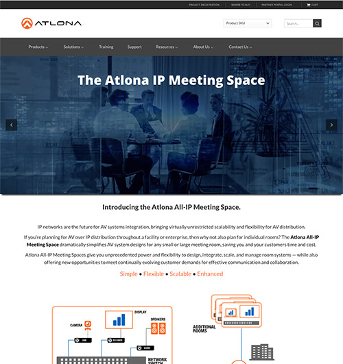 Atlona All IP Meeting Space landing page
